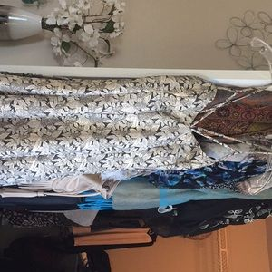 Metallic shimmer floral cocktail dress
